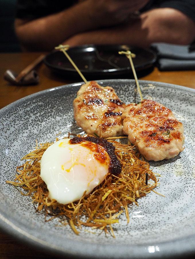 Kid Kyoto Omakase: Preserved lemon chicken tsukune, onsen egg 'birds nest' & chilli rayu