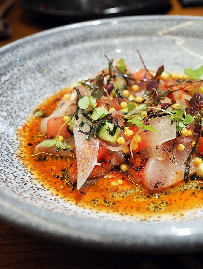 Kid Kyoto Omakase: Kingfish ceviche, pickled watermelon, lemon aspen & roast wakame kosho