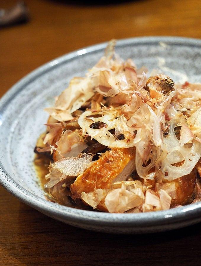 Kid Kyoto Main Dish: Saké Chicken, shiitake, kombu & katsuobushi