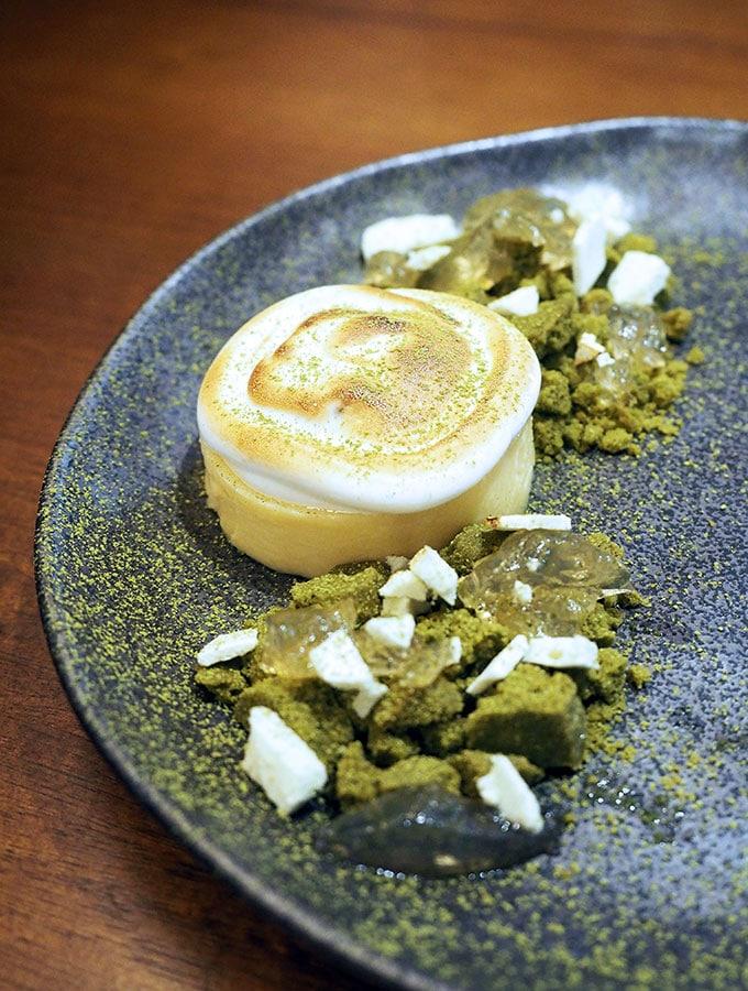 Kid Kyoto Omakase: Toasted yuzu meringue tart, green tea & blueberry