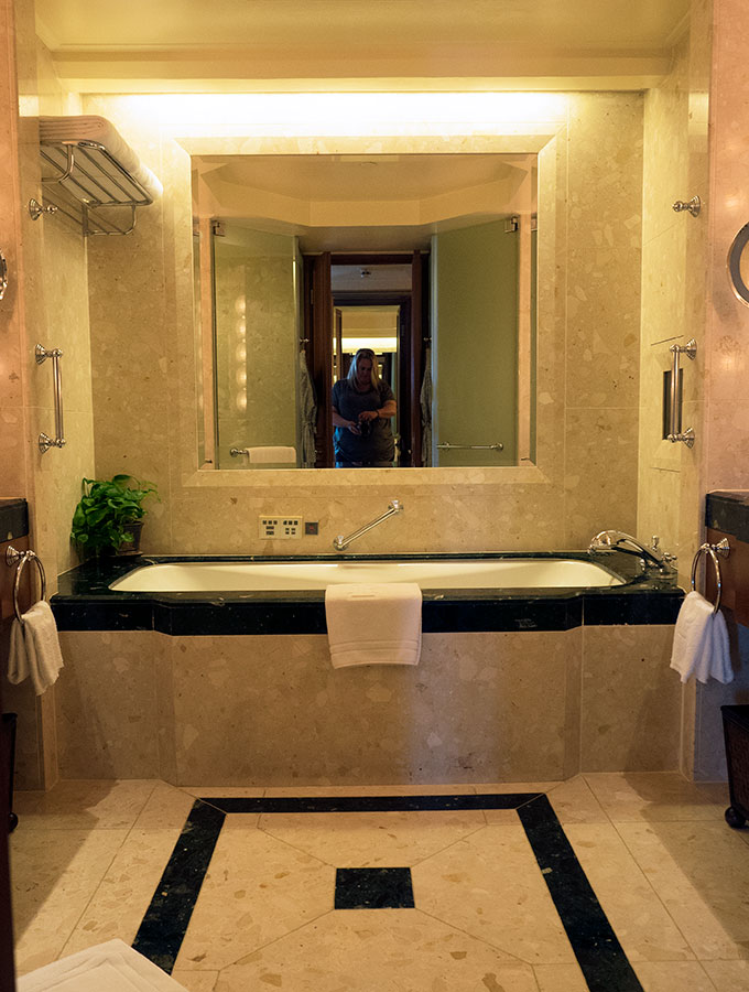 The bathroom in the Deluxe Suite of the Peninsular Hotel Bangkok.