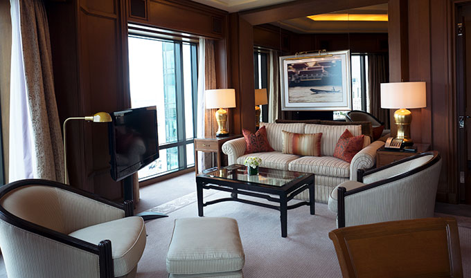 Lounge Room of Deluxe Suite at the Peninsula Hotel Bangkok. The Peninsula Hotel Bangkok is a tranquil escape situated on the Chao Phraya River.