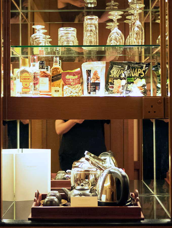 The mini bar in the Deluxe Suite of the Peninsula Hotel Bangkok