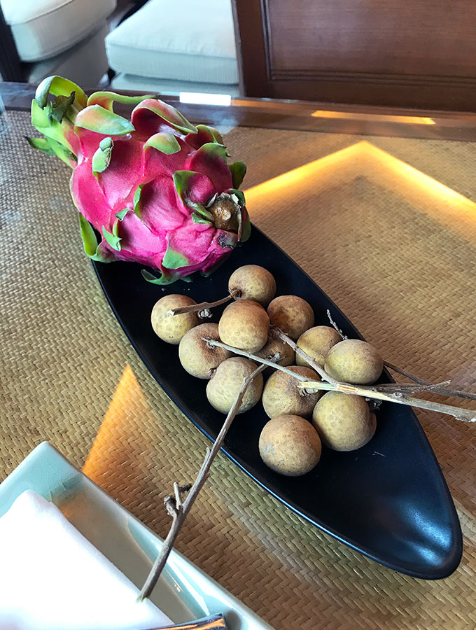 Fresh Fruit in the Deluxe Suite of the Peninsula Hotel Bangkok. The Peninsula Hotel Bangkok is a tranquil escape situated on the Chao Phraya River.