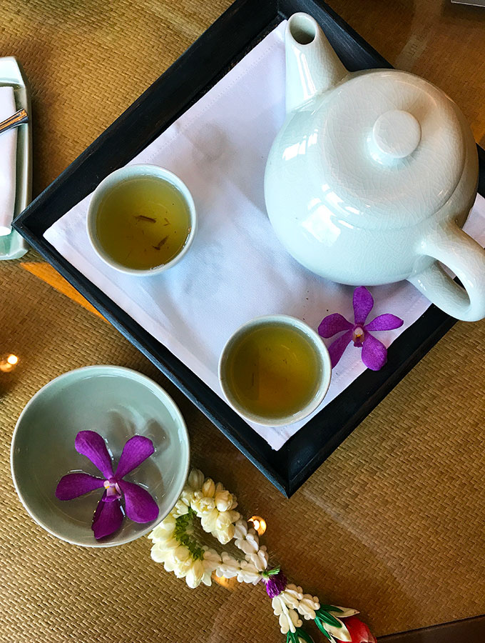 Welcome tea served in the Deluxe Suite of the Peninsula Hotel Bangkok. The Peninsula Hotel Bangkok is a tranquil escape situated on the Chao Phraya River.