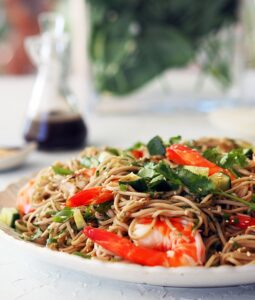 Healthy mid week recipe Prawn and soba noodle salad