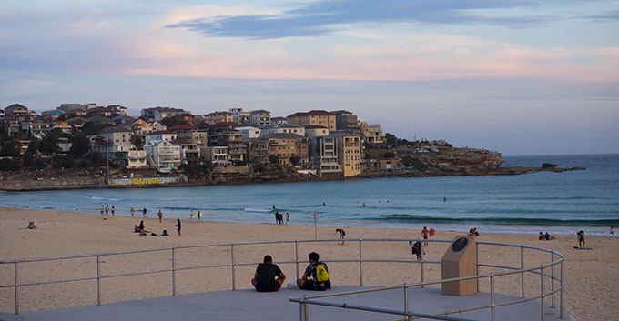 View of Bondi Beach from Dog Friendly Restaurant and Bar The Bucket List Sydney