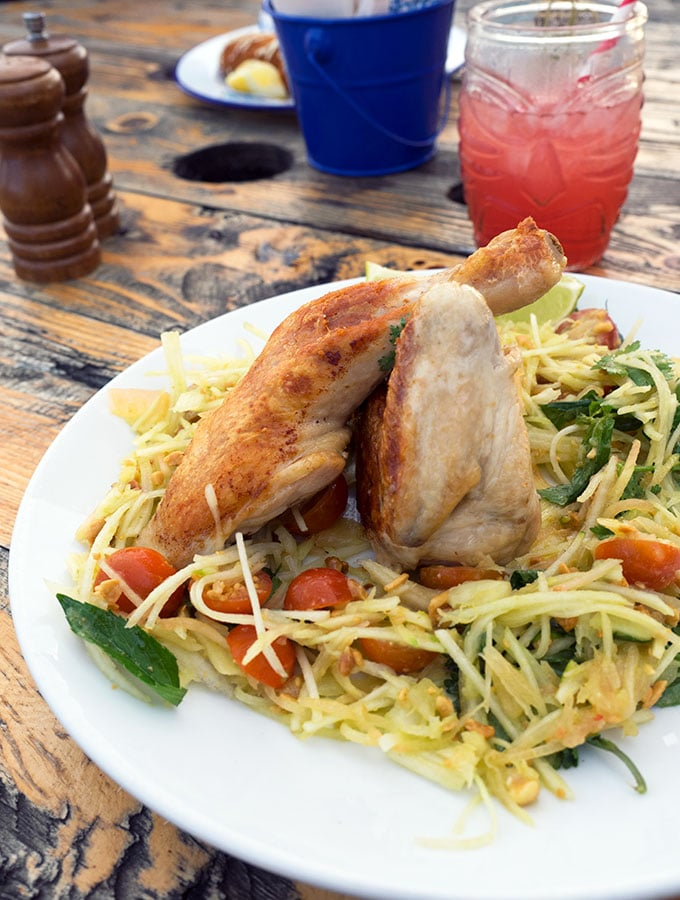 Healthy options at The Bucket List Bondi Beach, Grilled Chicken with Green Mango and Coconut Salad