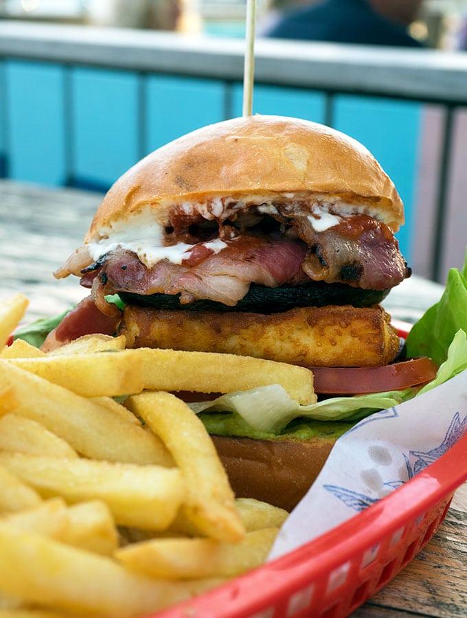 The grilled mushroom burger at The Bucket List Bondi Beach, Dog Friendly Cafe Sydney