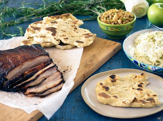 Smoked BBQ Pork Belly, Apple Fennel Slaw and Easy BBQ Flat Breads