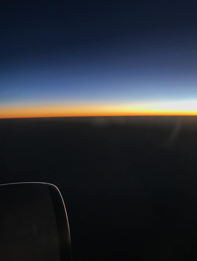 Qantas Business Class Sydney to Singapore QF005 Airbus A300 Sunset over Outback Australia