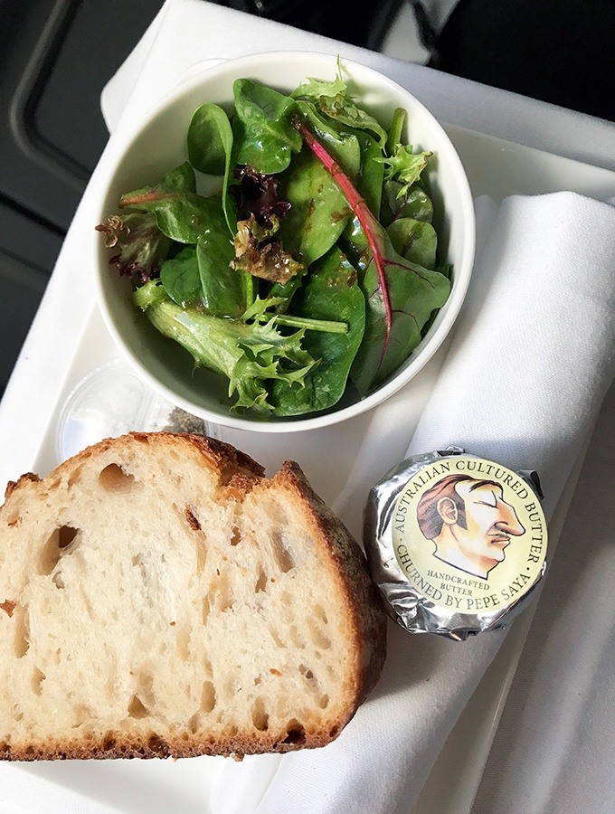 Qantas Business Class Sydney to Singapore QF005 Airbus A300 Pepe Sayer Butter and Salad