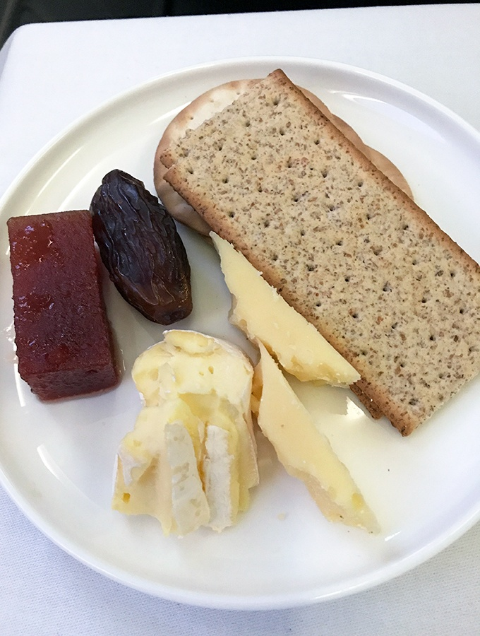 Qantas Business Class Sydney to Singapore QF005 Airbus A300 Cheese Platter