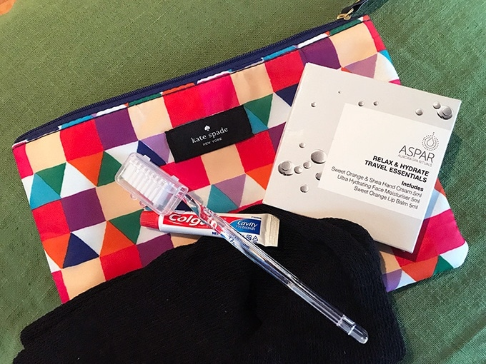 Qantas Business Class Sydney to Singapore QF005 Airbus A300 Kate Spade Amenity Kit