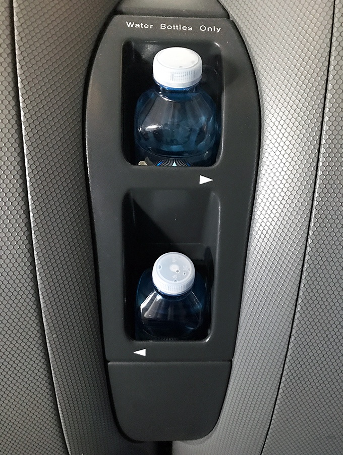 Qantas Business Class Sydney to Singapore QF005 Airbus A300 Water Bottle Storage