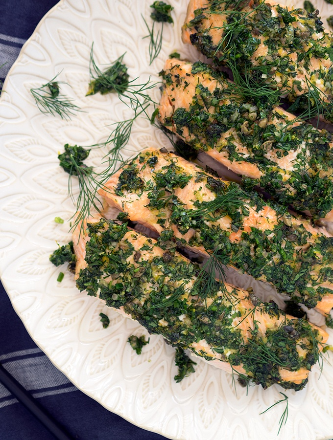 Dinner on the table in 20 minutes flat. Oven roasted salmon fillets with dill, parsley and chives.