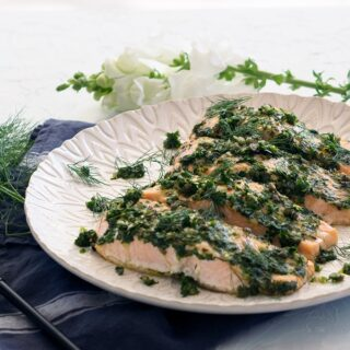 Quick and easy oven baked salmon fillets with fresh herbs