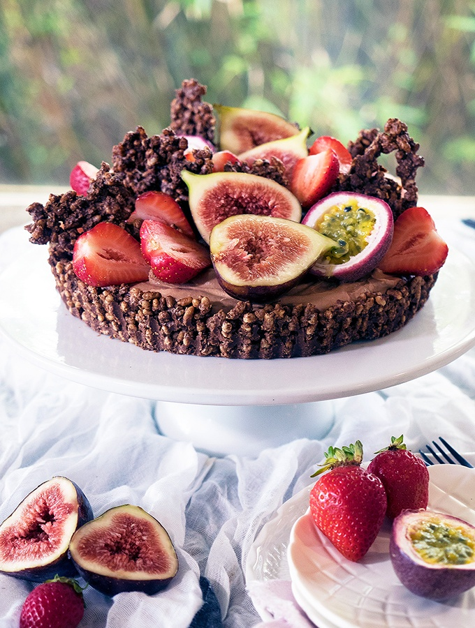 Rich chocolate cheesecake with a chocolate crackle base topped with beautiful fruit