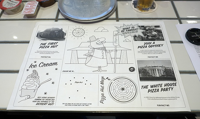 Pizza Hut's New Concept Store Waterloo Activity Placemats for the Kids