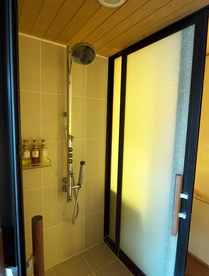 Guest bedroom shower at Kozantei Ubuya Mt Fuji View Hotel Kawaguchiko Japan