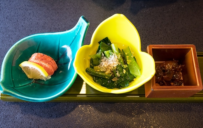 Small dishes, part of breakfast at Kozantei Ubuya Mt Fuji View Hotel Kawaguchiko Japan