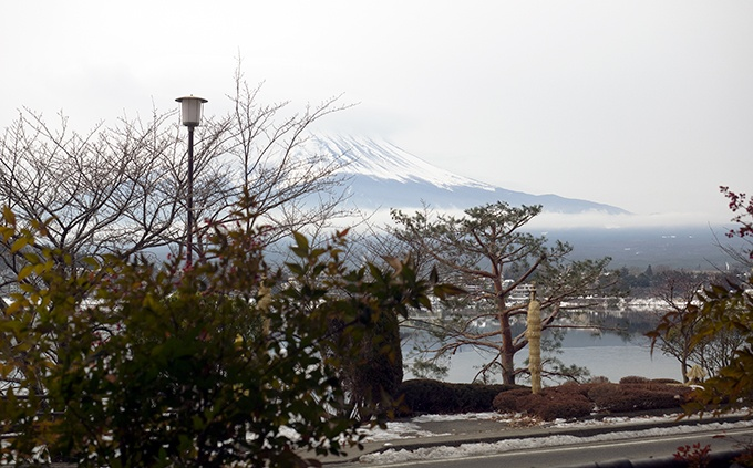 The view from our breakfast table at Kozantei Ubuya Mt Fuji View Hotel Kawaguchiko Japan