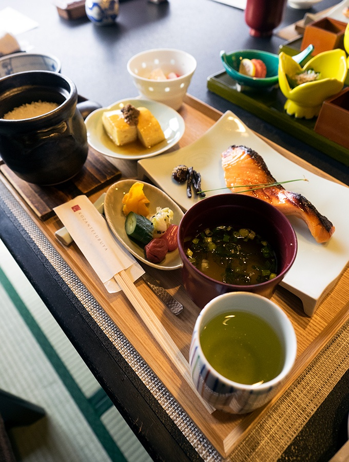 Japanese style breakfast is part of your accommodation at Kozantei Ubuya Mt Fuji View Hotel Kawaguchiko Japan
