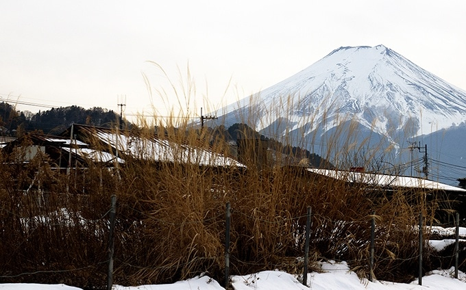 View of Mt Fuji photographed from the Fujikyu Kawaguchiko Line.