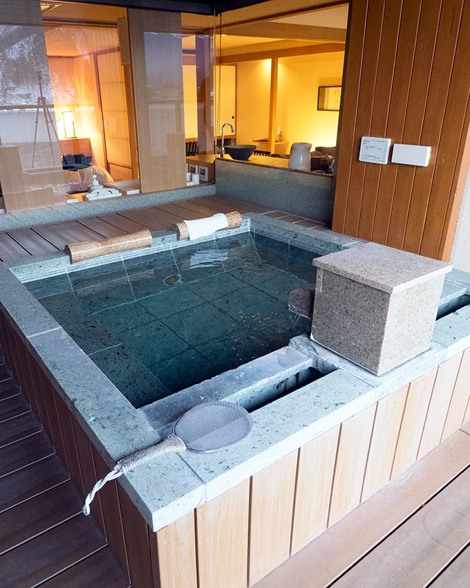 Private outdoor bath with views of Mt Fuji. Kozantei Ubuya Mt Fuji View Hotel Kawaguchiko Japan