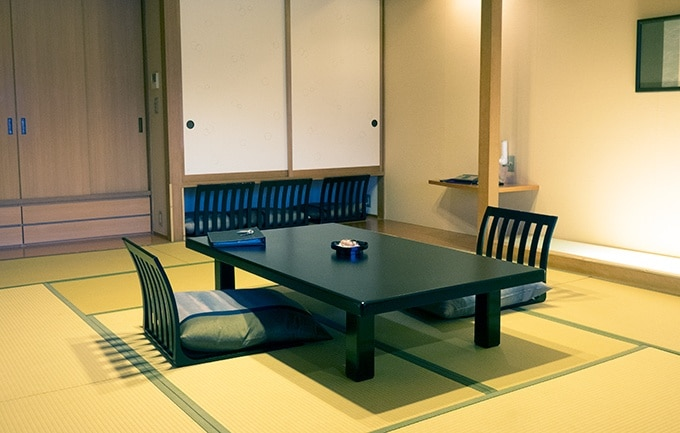 Japanese seating in the guest room at Kozantei Ubuya Mt Fuji View Hotel Kawaguchiko Japan