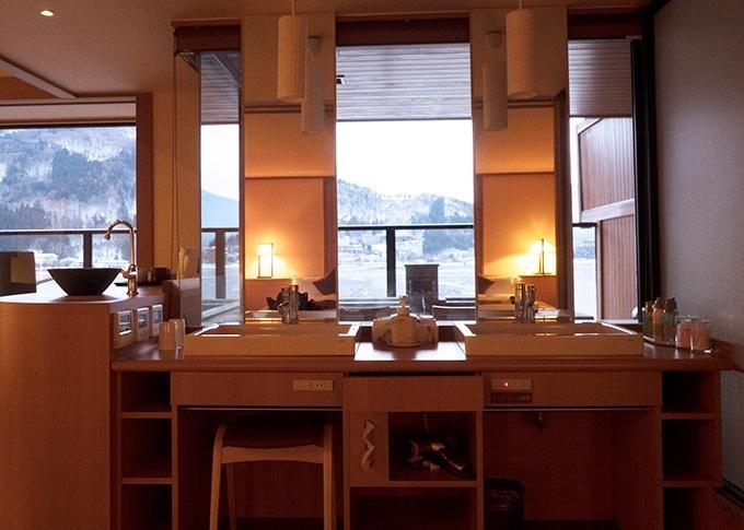 Guest room vanity at Kozantei Ubuya Mt Fuji View Hotel Kawaguchiko Japan