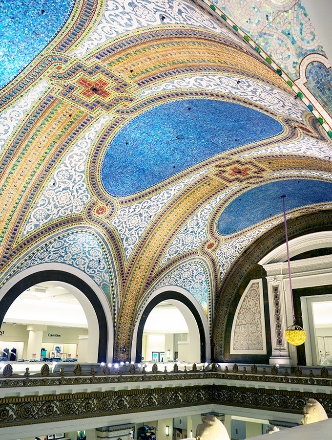 Macy's Tiffany Dome Ceiling - The elaborate mosaic glass dome designed by Tiffany at Macy's Chicago