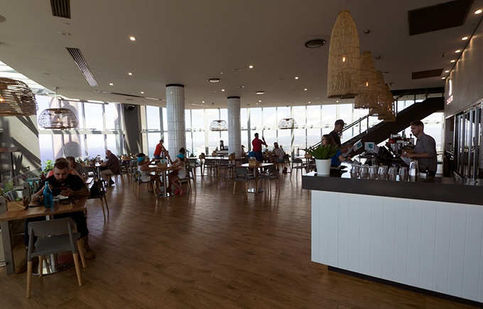 SkyPoint Bistro & Bar is spacious with views for miles