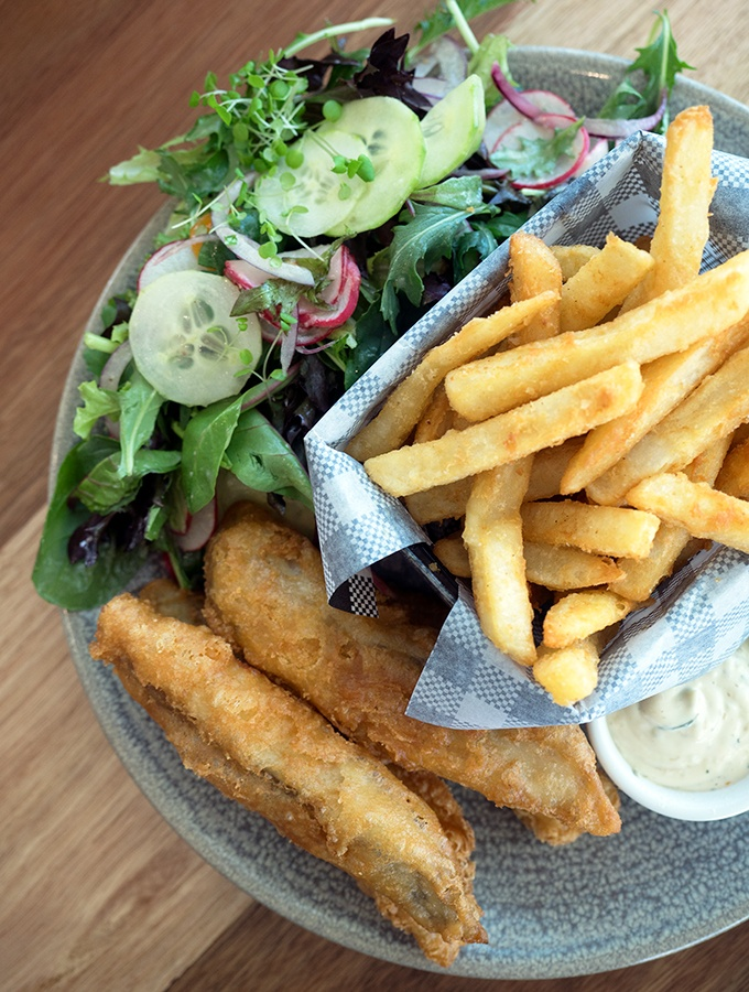 SkyPoint Bistro & Bar - Beer battered barra, chips and salad