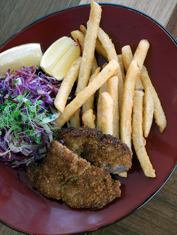SkyPoint Bistro & Bar - pork schnitzel, chips and salad