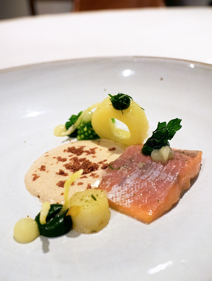 Suhring Restaurant Bangkok Thailand Pink River Trout with brown butter escabance and candied lemon rind