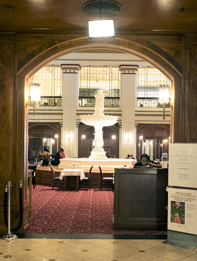 The elegant Walnut Room on Level 7 of the Marshall Field's Building on State Street Chicago