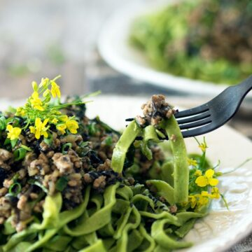 Handmade pasta given the Asian touch, Water Spinach Tagliatelle with Pork and Chestnut Ragu