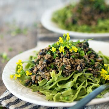Pork and Chestnut Ragu with Water Spinach Tagliatelle: An Asian twist on an Italian classic.