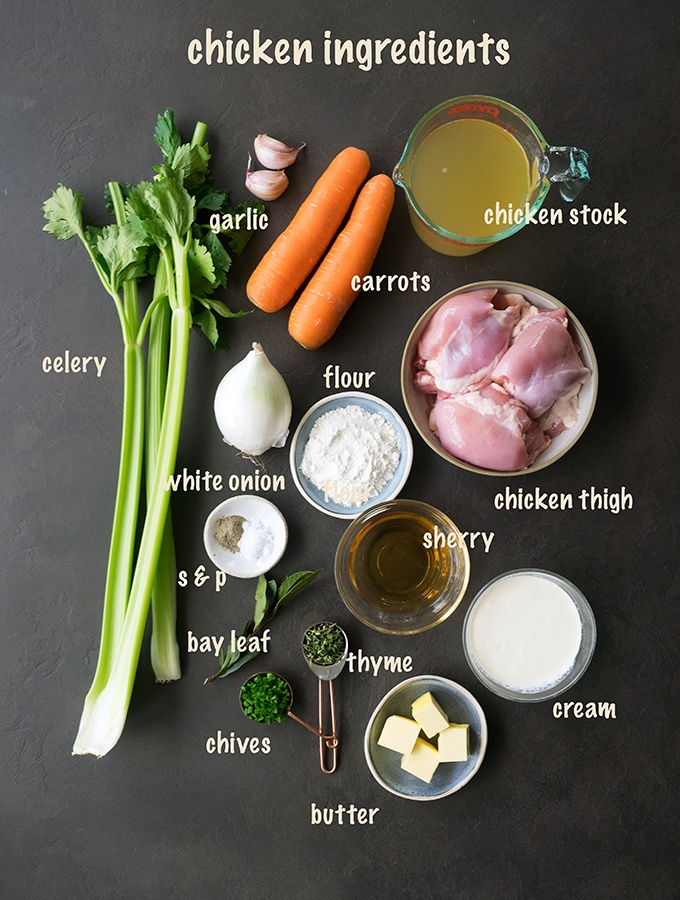 Ingredients for one pot chicken and dumplings, celery, garlic, carrots, chicken stock, flour, chicken thigh fillets, white onion, sherry, cream, butter, chives, thyme, salt and pepper