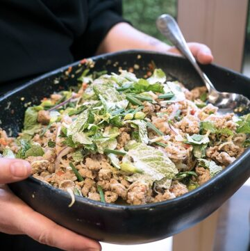 Scrumptious Duck Larb recipe. Plus I answer the question of why can we eat pink duck meat and not chicken?