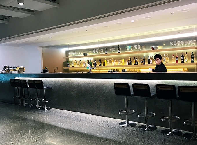 The long bar in Singapore, but this one is at the Qantas Singapore Lounge