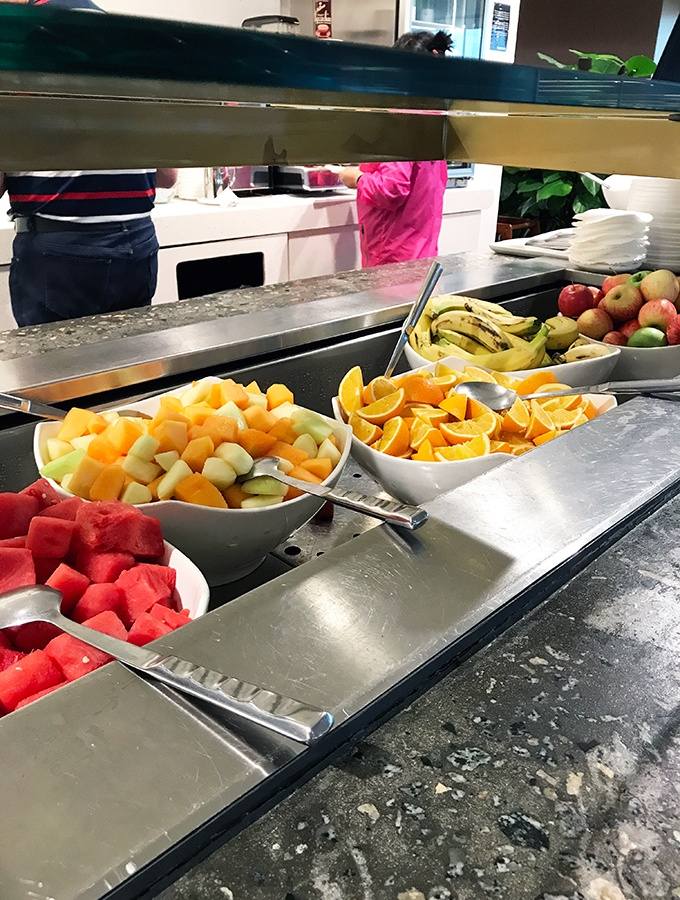 Fresh fruit as far as the eye can see in one of Changi's premium airport lounges - Qantas Singapore Lounge