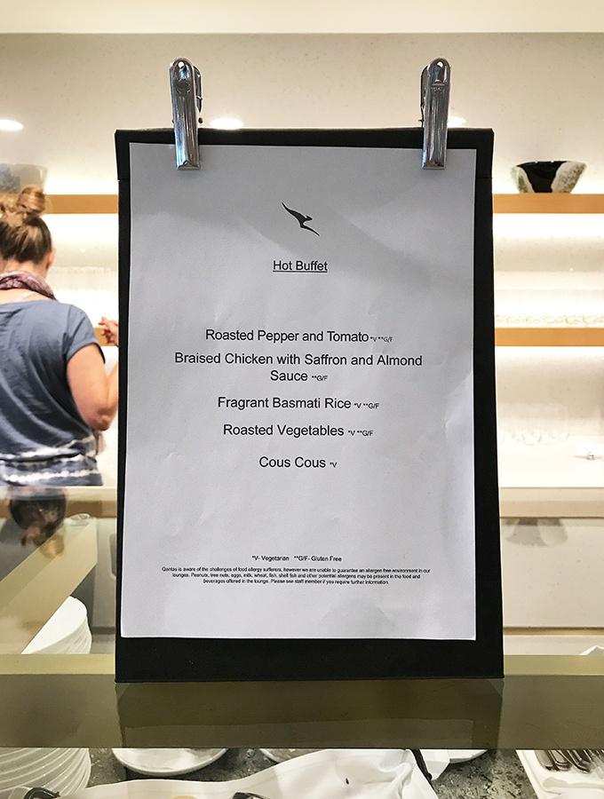 Various dining stations around the Qantas Singapore Lounge