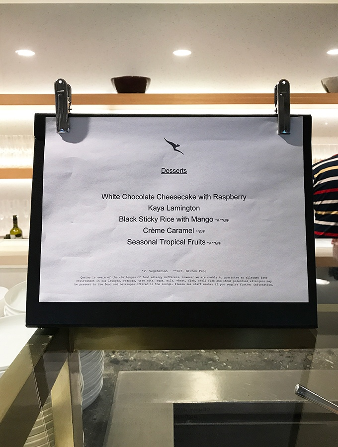 One of the daily food menus at the Qantas Singapore Lounge