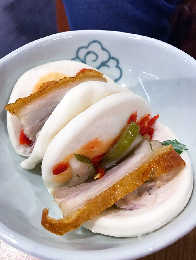 Qantas Singapore Lounge steamed bao made to order