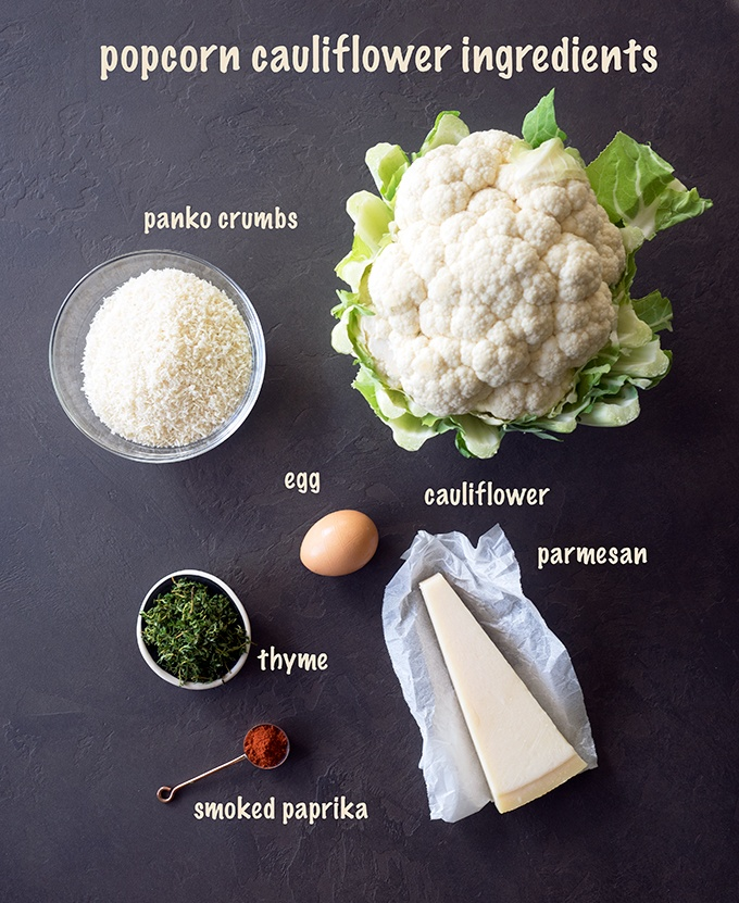 Oven Baked Popcorn Cauliflower ingredients and recipe