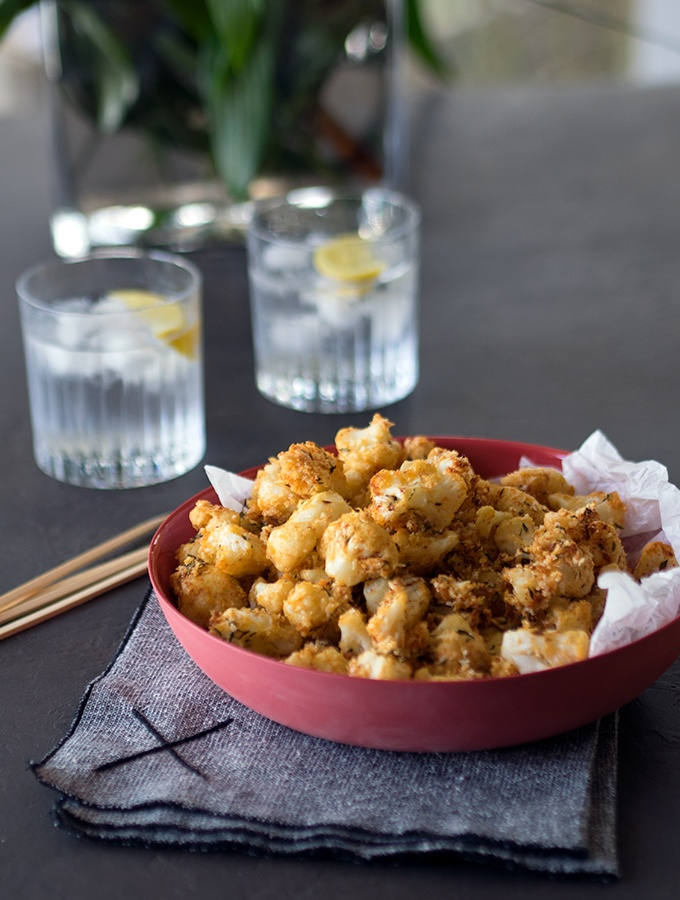 Oven Baked Popcorn Cauliflower is a healthier alternative to fried popcorn chicken
