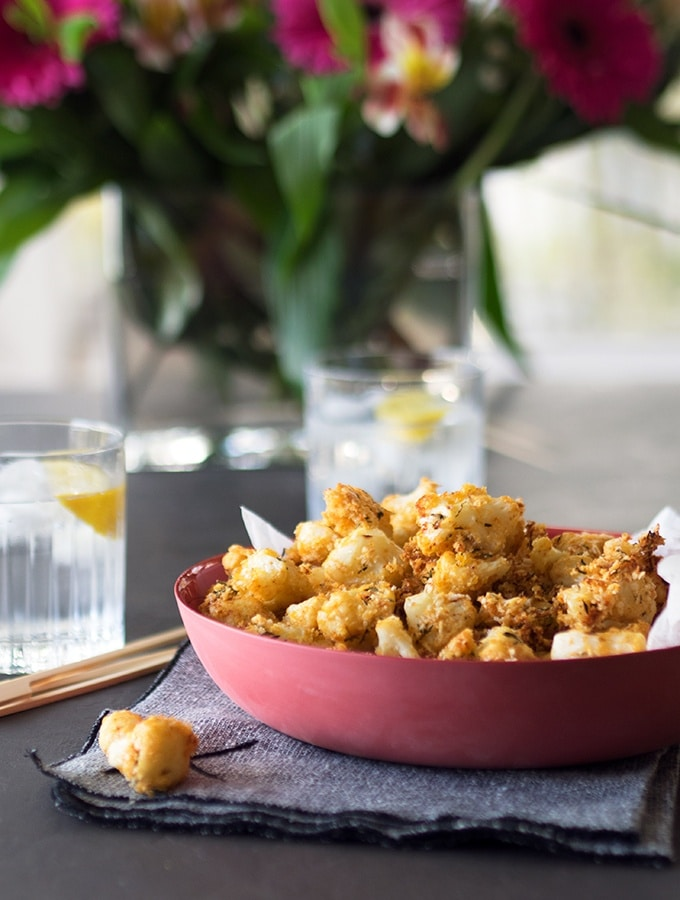 A vegetarian alternative to popcorn chicken, Oven Baked Popcorn Cauliflower