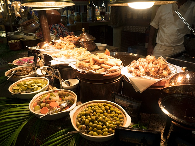 Various fried dishes at Al Hadheerah Desert Restaurant Dubai